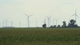 Field Of Wind Turbines stock footage