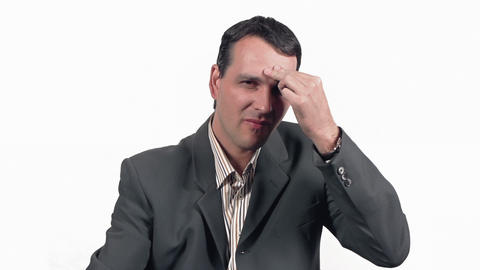 Businessman Taking Headache Pill Stock Video Footage