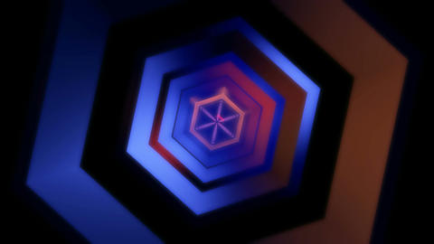 hexagonal glossy tunnel Stock Video Footage