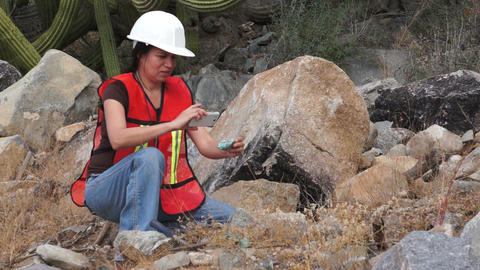 Geologist Woman Data Collection stock footage