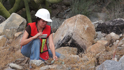 Geologist Woman Data Collection Stock Video Footage