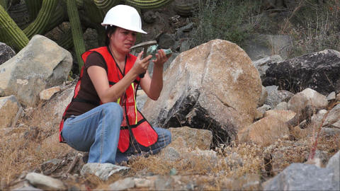 Geologist Woman Rock Sample Stock Video Footage