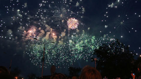 crowd of people watching fireworks in night city Stock Video Footage