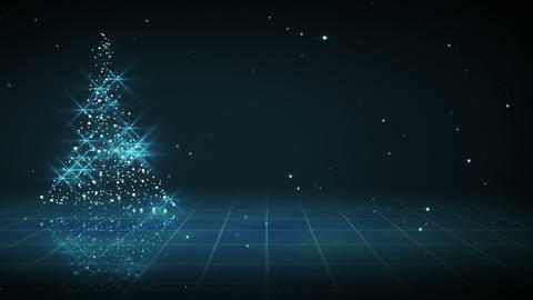 shiny blue christmas tree shape loop Animation
