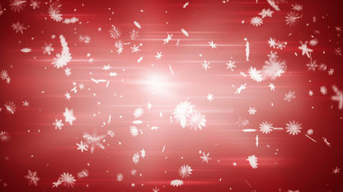 airy snowfall on red seamless loop Stock Video Footage