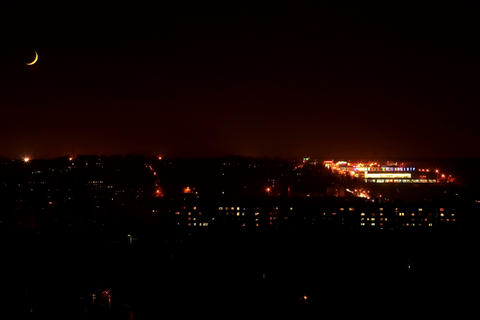 4K. Night. Sunset Moon in the city, FULL HD. (Time Stock Video Footage