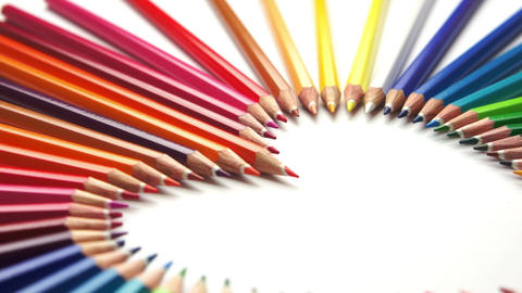 Pencil Crayon Heart Dolly Stock Video Footage