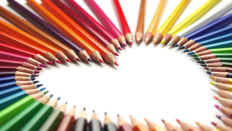 Pencil Crayon Heart Dolly stock footage