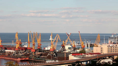 Ocean cruise ship leaves the port of Odessa, Ukrai Stock Video Footage