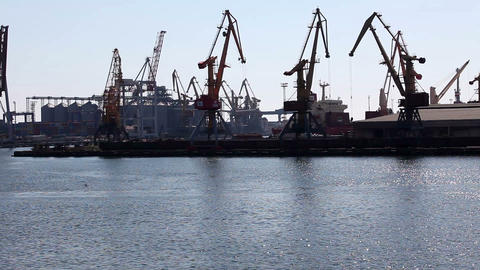 Ship to unload at a sea port. Odessa, Ukraine Footage