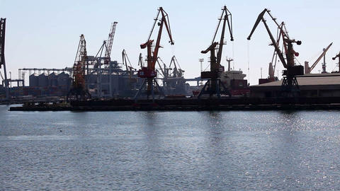 Ship to unload at a sea port. Odessa, Ukraine Stock Video Footage