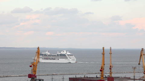 Ocean cruise ship leaves the port of Odessa, Ukrai Stock Video Footage