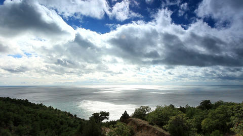 Movement of the clouds on the mountain bay Aya. Cr Stock Video Footage