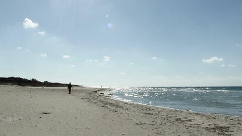 stranger on the beach Stock Video Footage
