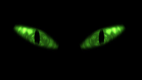 Animation of green cat eyes blinking Stock Video Footage