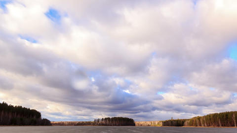 Rain clouds over the pond. Time Lapse Stock Video Footage