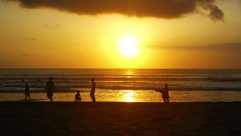 Sunset on beach, Kuta, Bali, Indonesia Stock Video Footage