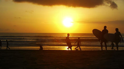 Sunset on beach, Kuta, Bali, Indonesia Stock Video Footage