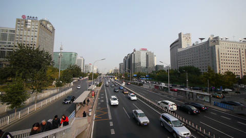 Beijing City Street Traffic Stock Video Footage