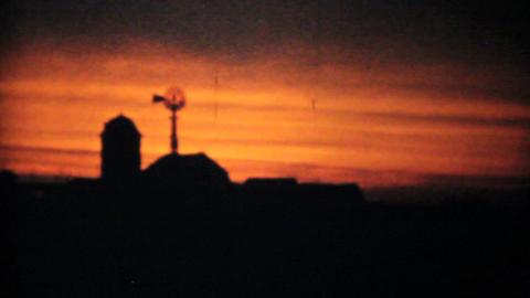 Beautiful Sunset On Family Farm 1940 Vintage 8mm Stock Video Footage