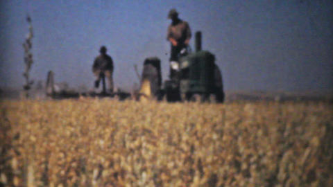 Farmers Harvesting Fields With Tractors 1940 Vinta Stock Video Footage