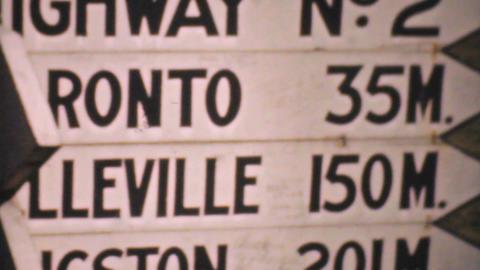 Old Ontario Highway Signs 1940 Vintage 8mm film Stock Video Footage