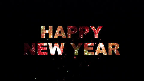 Happy New Year fireworks 02 Stock Video Footage