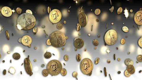 US Dollar Coins Looping Background Stock Video Footage