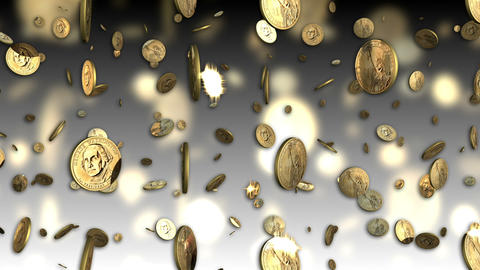 US Dollar Coins Looping Background Animation