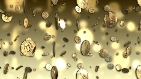US Dollar Coins Looping Background stock footage