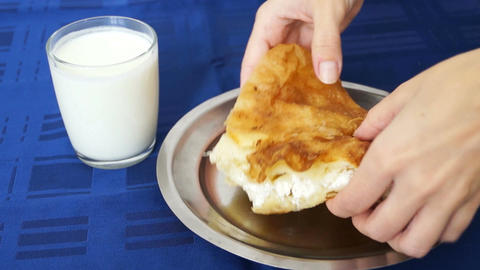 Eating Burek stock footage