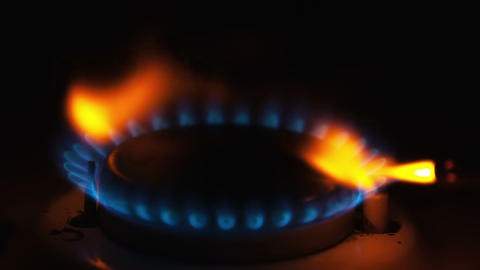 Igniting the gas stove with lighter Footage