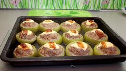 stuffed zucchini Stock Video Footage