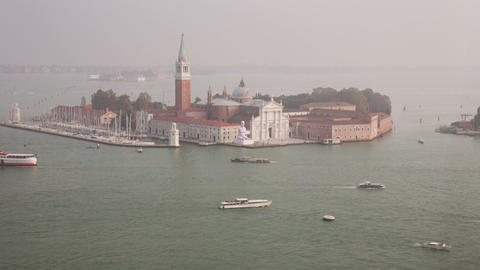 San Giorgio Maggiore island top view from San Marc Stock Video Footage