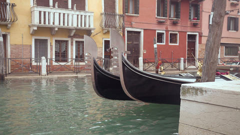 Gondolas in Venice at the pier at the channel Footage