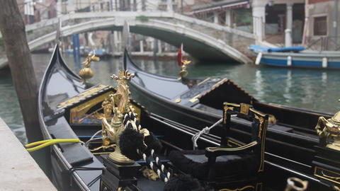 Gondola in Venice at the pier closeup view of figu Stock Video Footage