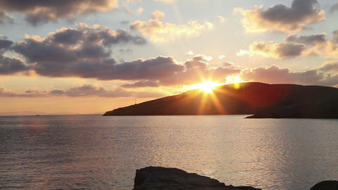 Timelapse of beautiful sunrise in the greek harbor Stock Video Footage