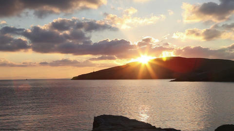 Timelapse Of Beautiful Sunrise In The Greek Harbor stock footage