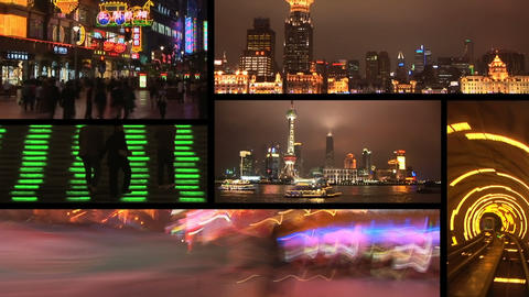 Shanghai, China at night, montage Stock Video Footage