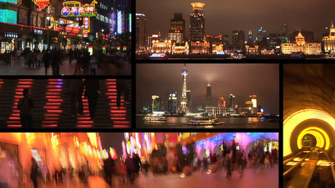 Shanghai, China at night, montage Footage