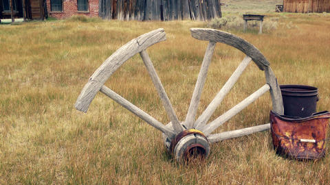Old, Broken Wagon Wheel Stock Video Footage