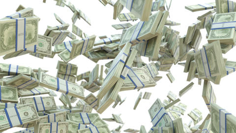 Wealth: dollar cash slow motion scattering on whit Stock Video Footage