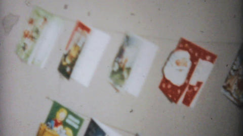 Christmas Cards On The Wall 1961 Vintage 8mm film Stock Video Footage