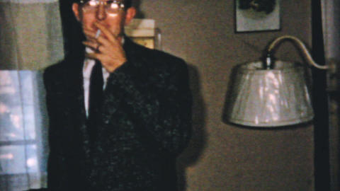Man Shows Off Stylish New Suit 1961 Vintage 8mm Stock Video Footage