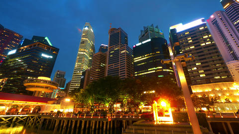 Singapore at night, timelapse in motion Footage