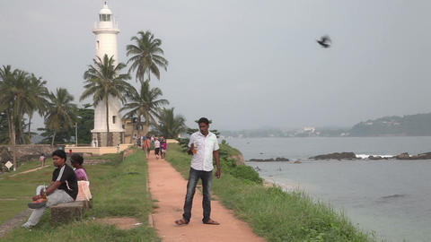 Visitors in Galle fort, Sri Lanka Stock Video Footage