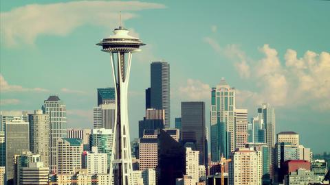 Seattle Skyline Time Lapse Stock Video Footage