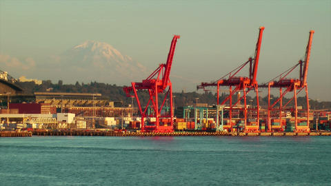 Seattle Shipping Industrial Area Footage