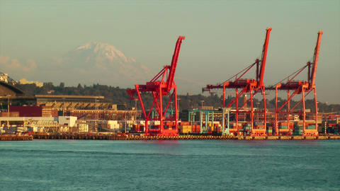 Seattle Shipping Industrial Area Stock Video Footage