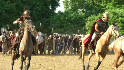 celt roman cavalry 01 Stock Video Footage